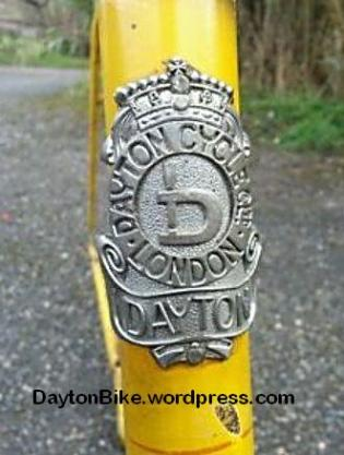 dayton bike head badge yellow